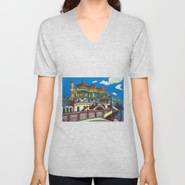 East Cliff Hall (Russell-Cotes Art Gallery & Museum) Unisex V-Neck