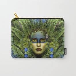 """""""Tropical green and indigo jungle Woman"""" Carry-All Pouch"""