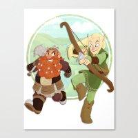 lotr Canvas Prints featuring LotR- Legolas & Gimli by Firehouselight