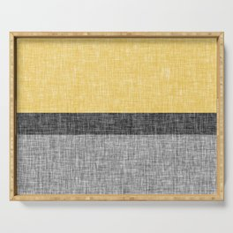 Yellow Grey and Black Section Stripe and Graphic Burlap Print Serving Tray
