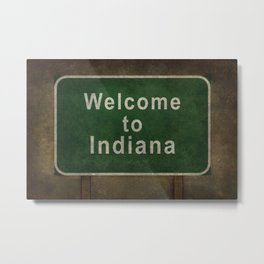 Welcome to Indiana roadside sign illustration Metal Print