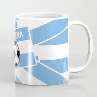 football Mugs featuring Argentina Football by mailboxdisco