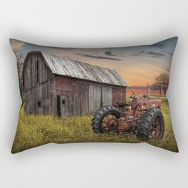 Abandoned Farmall Tractor and Barn Rectangular Pillow