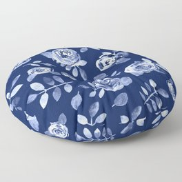 Hand painted navy blue white watercolor floral roses pattern Floor Pillow