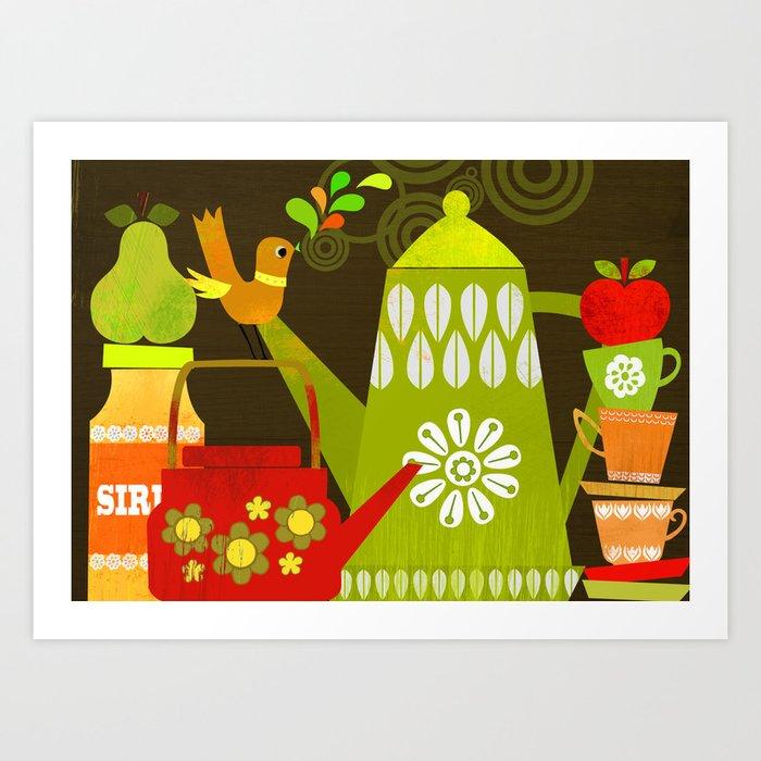 Retro Kitchen Art: Retro Kitchen Art Print By Elisandra