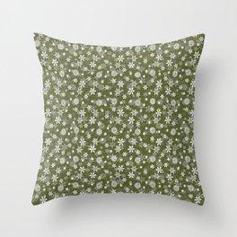 Festive Terrarium Moss Green and White Christmas Holiday Snowflakes Throw Pillow