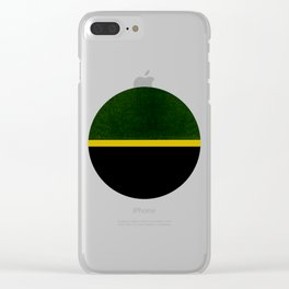 Green, Gold And Black Color Block Clear iPhone Case