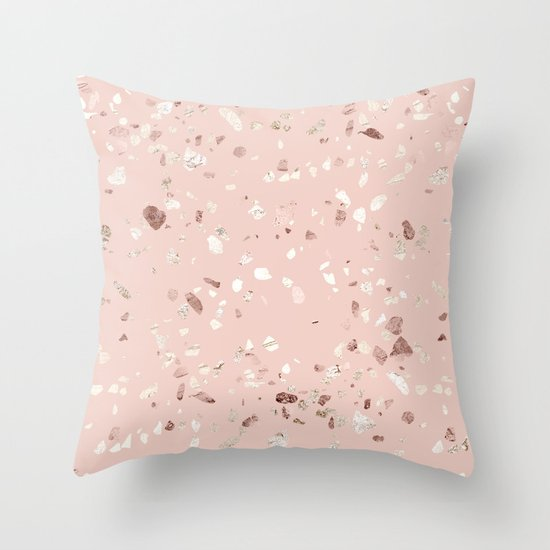 Blush Pink Decorative Pillow : Blush Pink + Rose Gold Terrazzo Throw Pillow by Simple Luxe Society6