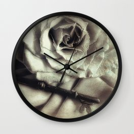 Faded Rose and Old Key Vintage Style Modern Country Cottage Art A130 Wall Clock