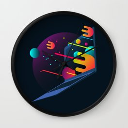 Neon Illustration Wall Clock