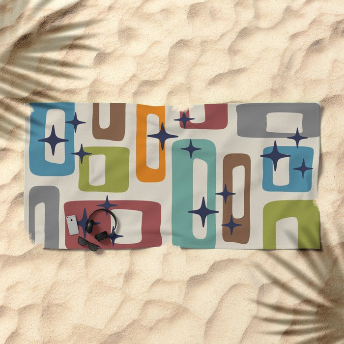 Retro Mid Century Modern Abstract Pattern 224 Beach Towel
