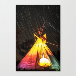 Star Trails Over My Tipi Canvas Print