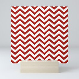 Simple Chevron Pattern - Red & White - Mix & Match with Simplicity of life Mini Art Print