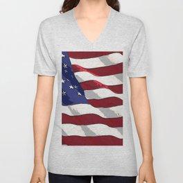 Fancy Flag:  USA 3 Unisex V-Neck