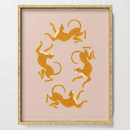 Leopard Race - pink Serving Tray