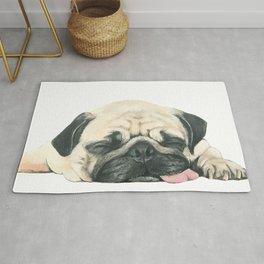 Nap Pug, Dog illustration original painting print Rug