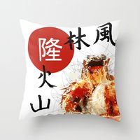 street fighter Throw Pillows featuring Street Fighter II - Ryu by Carlo Spaziani