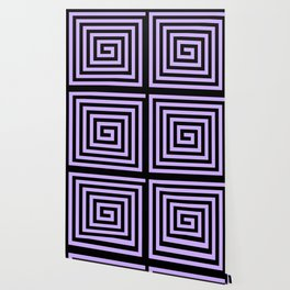 Graphic Geometric Pattern Minimal 2 Tone Big Swirl Zig-Zag (Lavender Purple & Black) Wallpaper