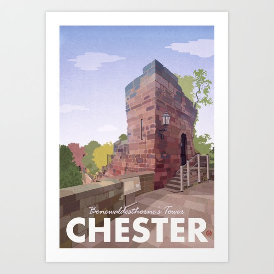 Retro Style Travel Poster - Chester - Bonewaldesthorne's Tower Art Print