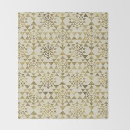 Sri Yantra  / Sri Chakra Pattern - Gold pastel Throw Blanket