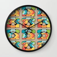 telephone Wall Clocks featuring Telephone Call by Digi Treats 2