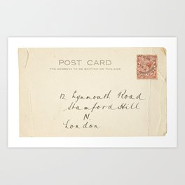 Retro post card  with address and stamp Art Print