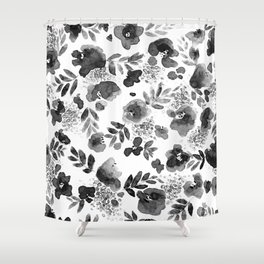 Floret Black and White Shower Curtain