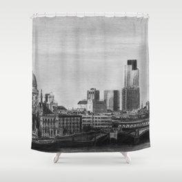 London Skyline Pencil Drawing Shower Curtain