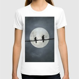Two Crows In The Light Of A Silvery Moon T-shirt