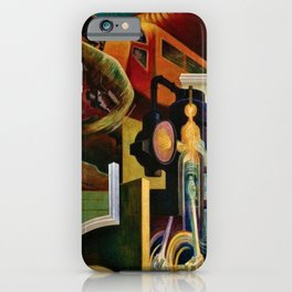 Classical Masterpiece - Instruments of Power - Train, Airplane, Steam by Thomas Hart Benton iPhone Case