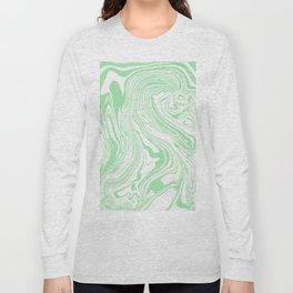Pastel green & White marble Swirls Long Sleeve T-shirt
