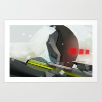 borderlands Art Prints featuring Borderlands - Zer0 by BEN Olive