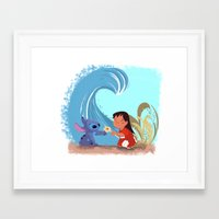 lilo and stitch Framed Art Prints featuring Lilo & Stitch by Orelly