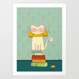 Criticat - your best book reviewer  Art Print