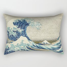 Brick Wall Painting Japanese Great Wave off Kanagawa - Urban Artist Rectangular Pillow