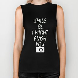 Smile and I Might Flash You Funny Perverted TShirt For Women Biker Tank