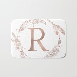 Letter R Rose Gold Pink Initial Monogram Bath Mat