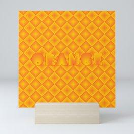 Orange diamond pattern 70's disco style Mini Art Print