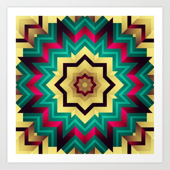 Geometric kaleidoscope with star shapes Art Print