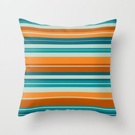 Summer Stripes Horizontal Pattern in Orange, Rust, Teal, Aqua, and Turquoise Throw Pillow