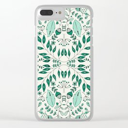 Floral Mix – Teal Clear iPhone Case