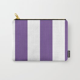 Wide Vertical Stripes - White and Dark Lavender Violet Carry-All Pouch