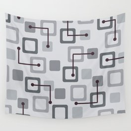 Midcentury 1950s Tiles & Squares Silver Wall Tapestry