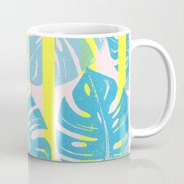 Linocut Monstera Neon Coffee Mug