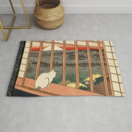 Hiroshige, the cat or Asakusa Ricefields and Torinomachi Festival Rug
