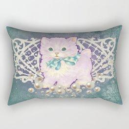 Kitschy Pearl Kitten Rectangular Pillow