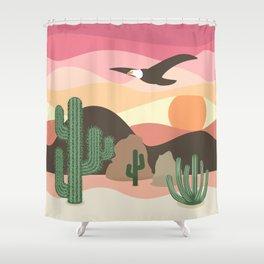 Flying Eagle in Desert Sunset Shower Curtain