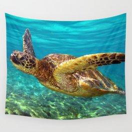 Green Sea Turtle swimming in Hawaii Wall Tapestry