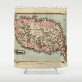 Vintage Grenada Island Map (1823) Shower Curtain