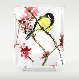 Great Tit and Spring Blossom, Yellow Pink Birds and Flowers Shower Curtain